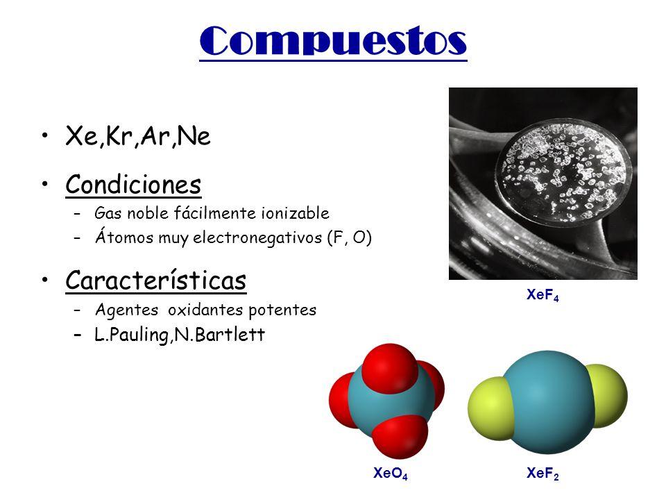 Compuestos Xe,Kr,Ar,Ne Condiciones Características