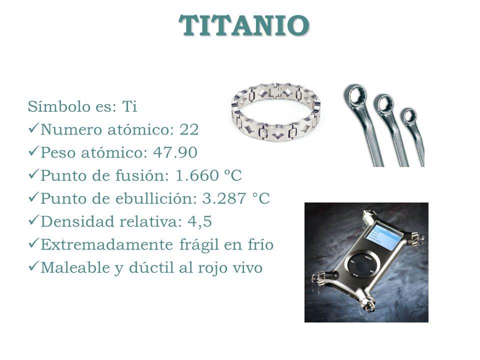 TITANIO Símbolo es: Ti Numero atómico: 22 Peso atómico: 47.90