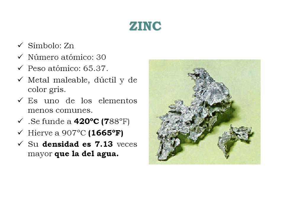 ZINC Símbolo: Zn Número atómico: 30 Peso atómico: 65.37.