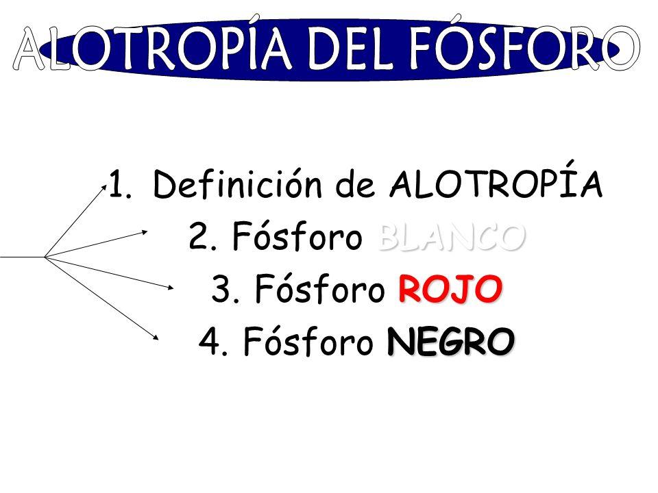Definición de ALOTROPÍA Fósforo BLANCO Fósforo ROJO Fósforo NEGRO