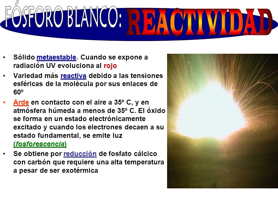 FÓSFORO BLANCO: REACTIVIDAD