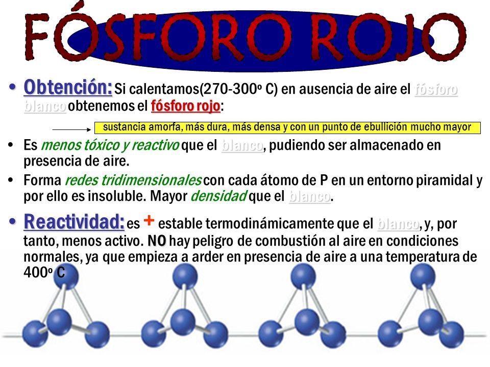 FÓSFORO ROJO Obtención: Si calentamos(270-300º C) en ausencia de aire el fósforo blanco obtenemos el fósforo rojo: