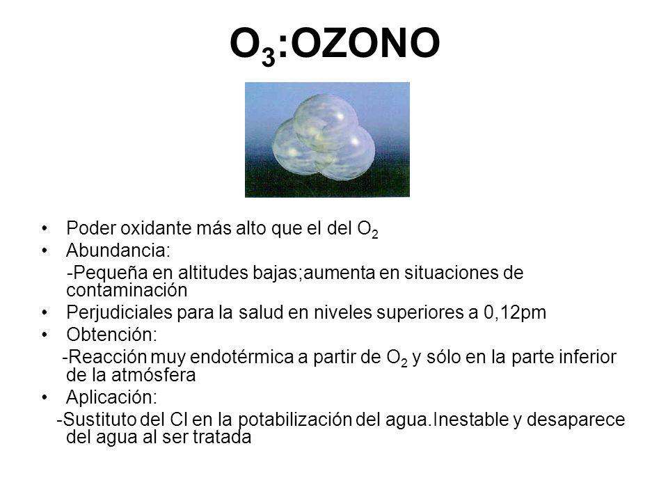 O3:OZONO Poder oxidante más alto que el del O2 Abundancia: