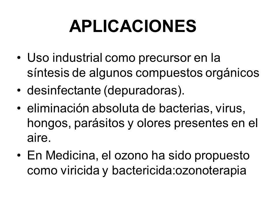 APLICACIONES Uso industrial como precursor en la síntesis de algunos compuestos orgánicos. desinfectante (depuradoras).