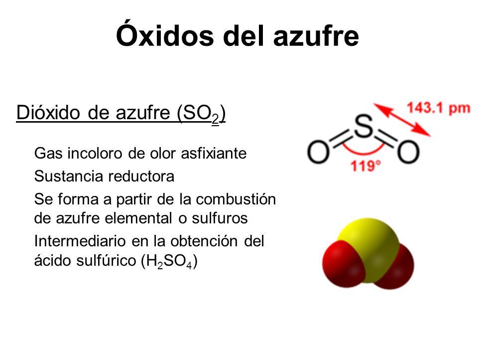 Óxidos del azufre Dióxido de azufre (SO2) Gas incoloro de olor asfixiante. Sustancia reductora.