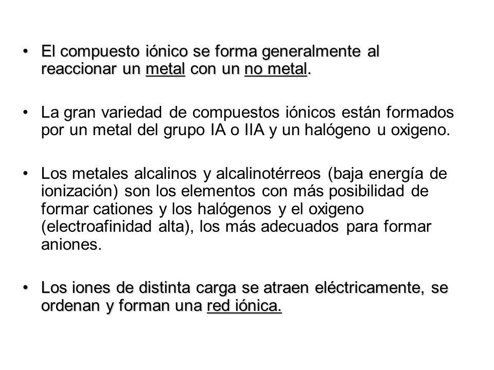 El compuesto iónico se forma generalmente al reaccionar un metal con un no metal.