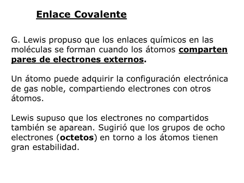 Enlace Covalente G. Lewis propuso que los enlaces químicos en las moléculas se forman cuando los átomos comparten pares de electrones externos.