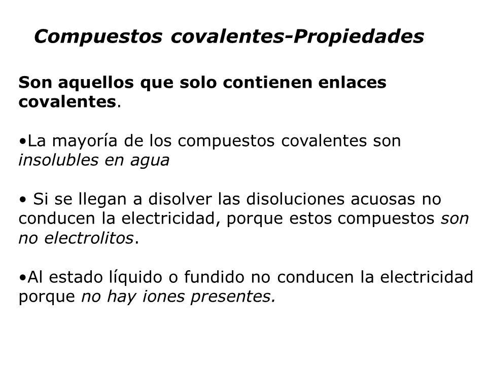 Compuestos covalentes-Propiedades