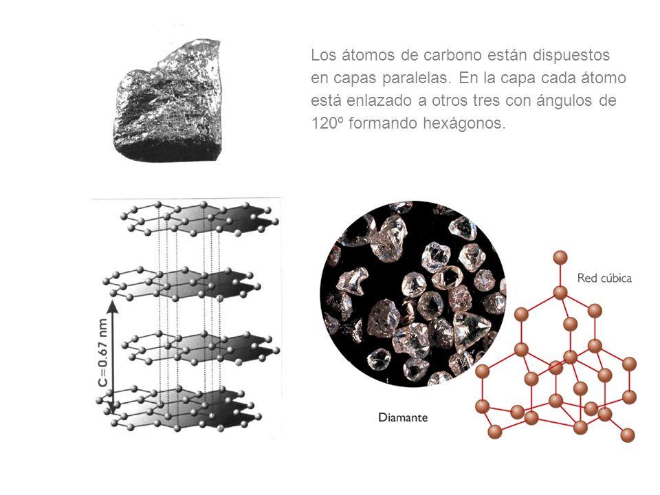 Los átomos de carbono están dispuestos en capas paralelas