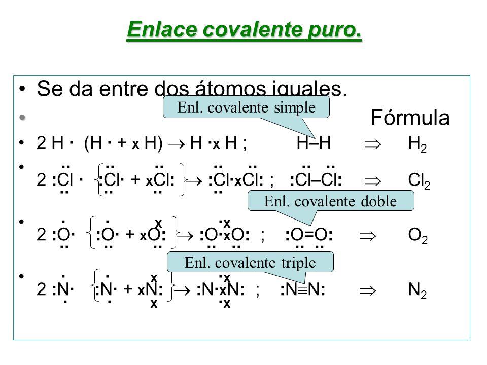 Se da entre dos átomos iguales. Fórmula