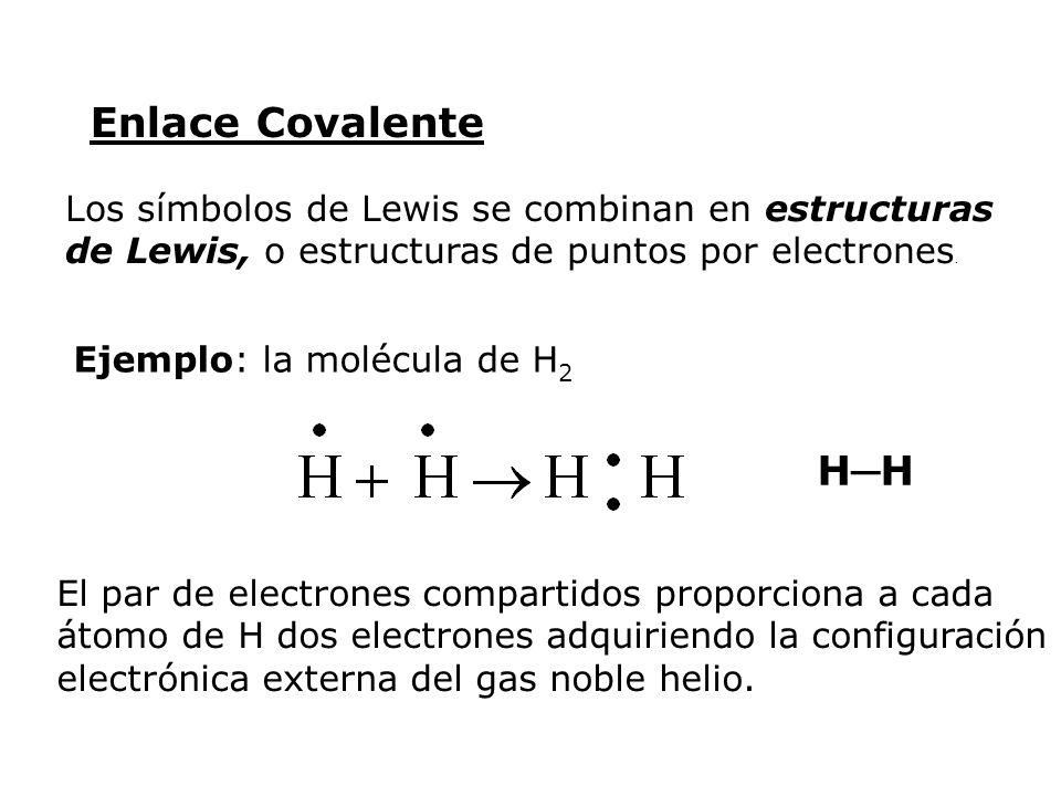 Enlace Covalente Los símbolos de Lewis se combinan en estructuras de Lewis, o estructuras de puntos por electrones.