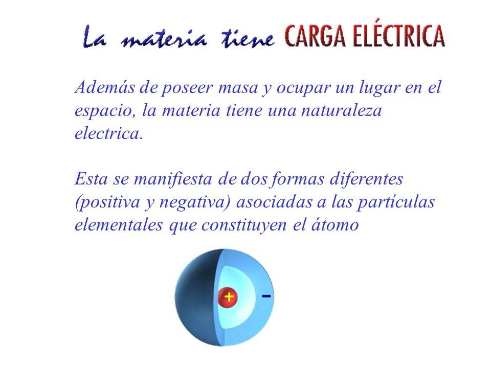 Además de poseer masa y ocupar un lugar en el espacio, la materia tiene una naturaleza electrica.