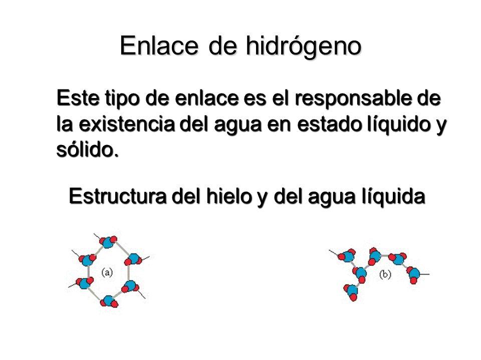 Enlace de hidrógeno Este tipo de enlace es el responsable de la existencia del agua en estado líquido y sólido.
