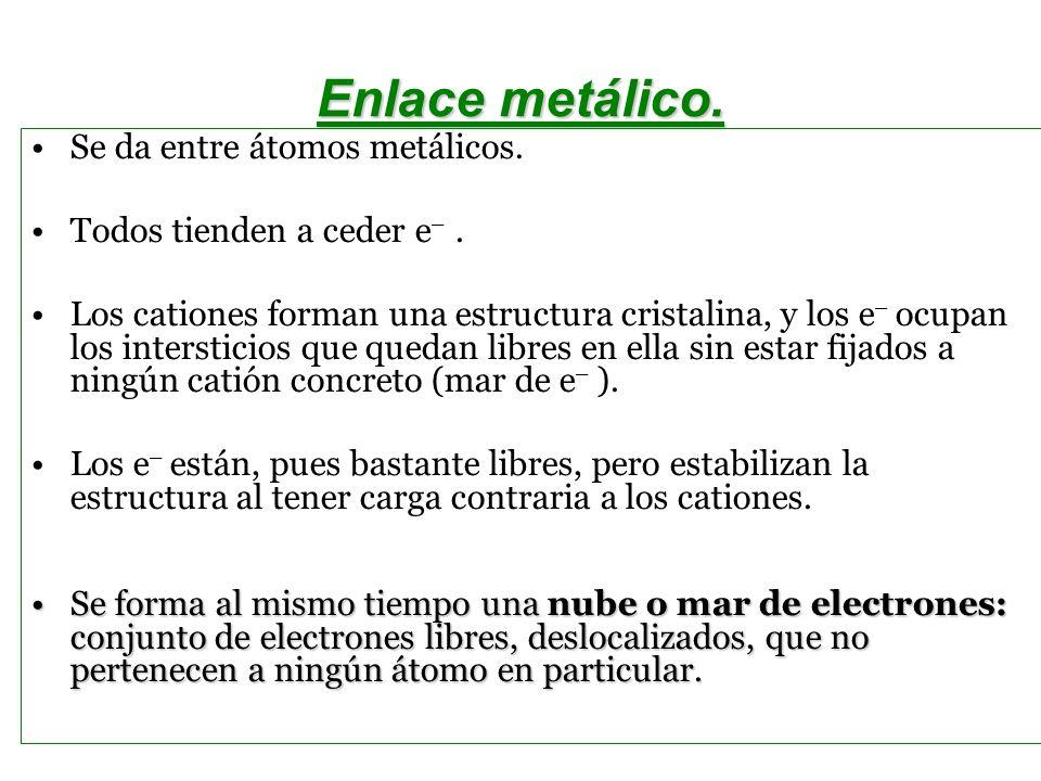 Enlace metálico. Se da entre átomos metálicos.