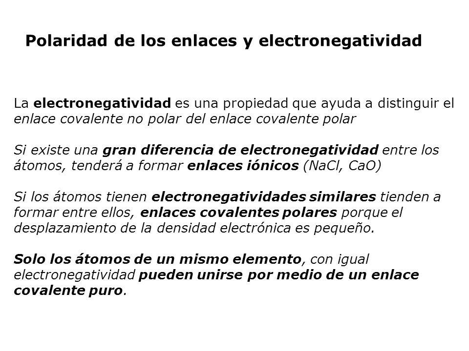 Polaridad de los enlaces y electronegatividad