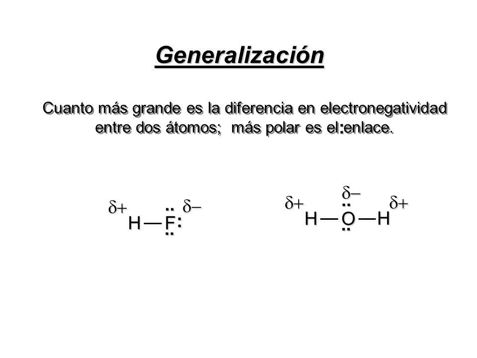 Generalización : O .. H d+ d- F : .. H d+ d-