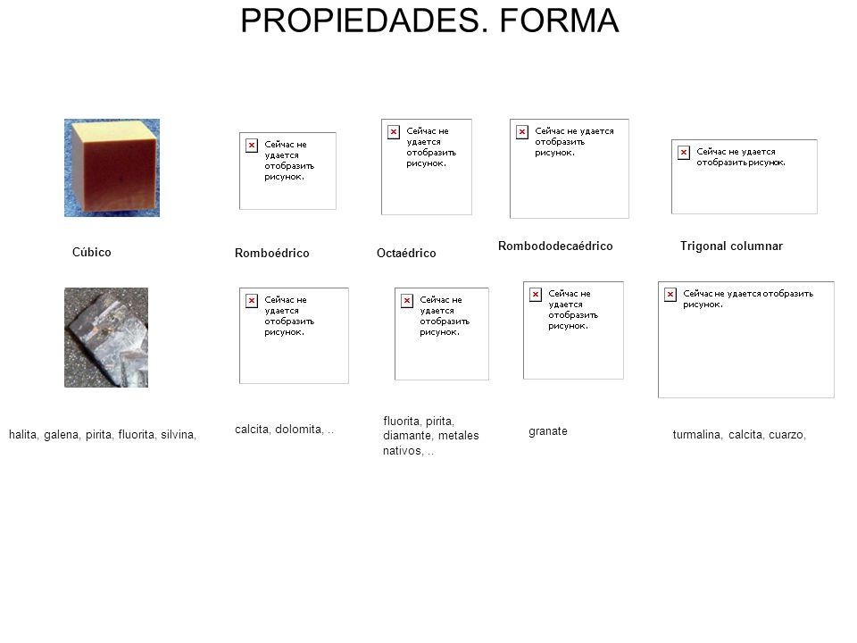 PROPIEDADES. FORMA granate 20 Rombododecaédrico Trigonal columnar