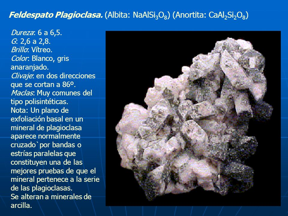 Feldespato Plagioclasa. (Albita: NaAlSi3O8) (Anortita: CaAl2Si2O8)
