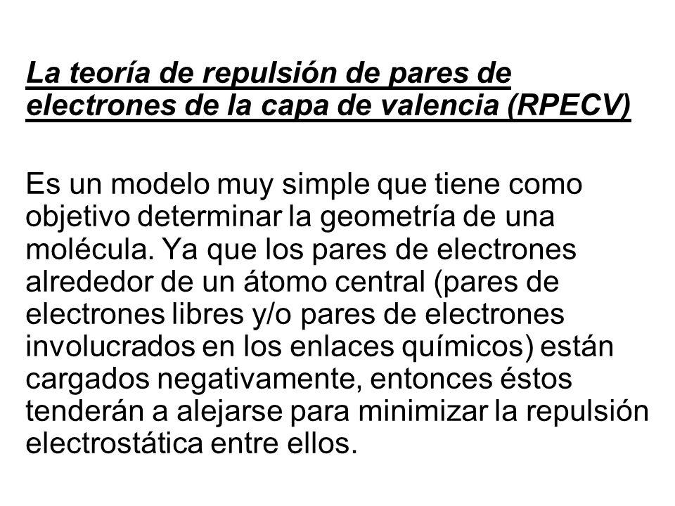 La teoría de repulsión de pares de electrones de la capa de valencia (RPECV)