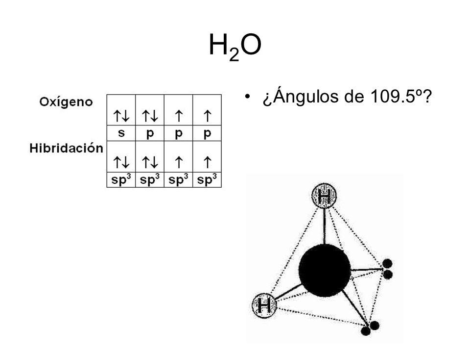 H2O ¿Ángulos de 109.5º 59