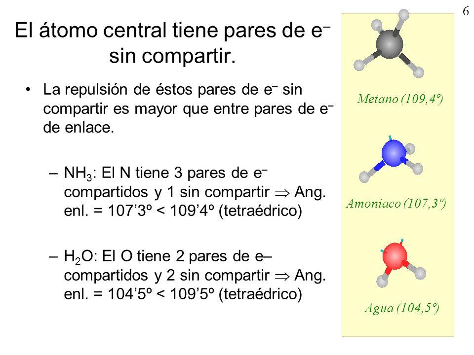 El átomo central tiene pares de e– sin compartir.