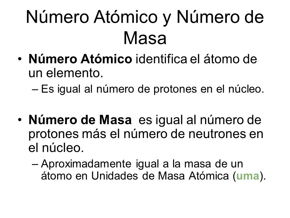 Número Atómico y Número de Masa