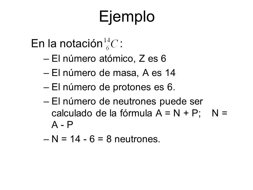 Ejemplo En la notación : El número atómico, Z es 6
