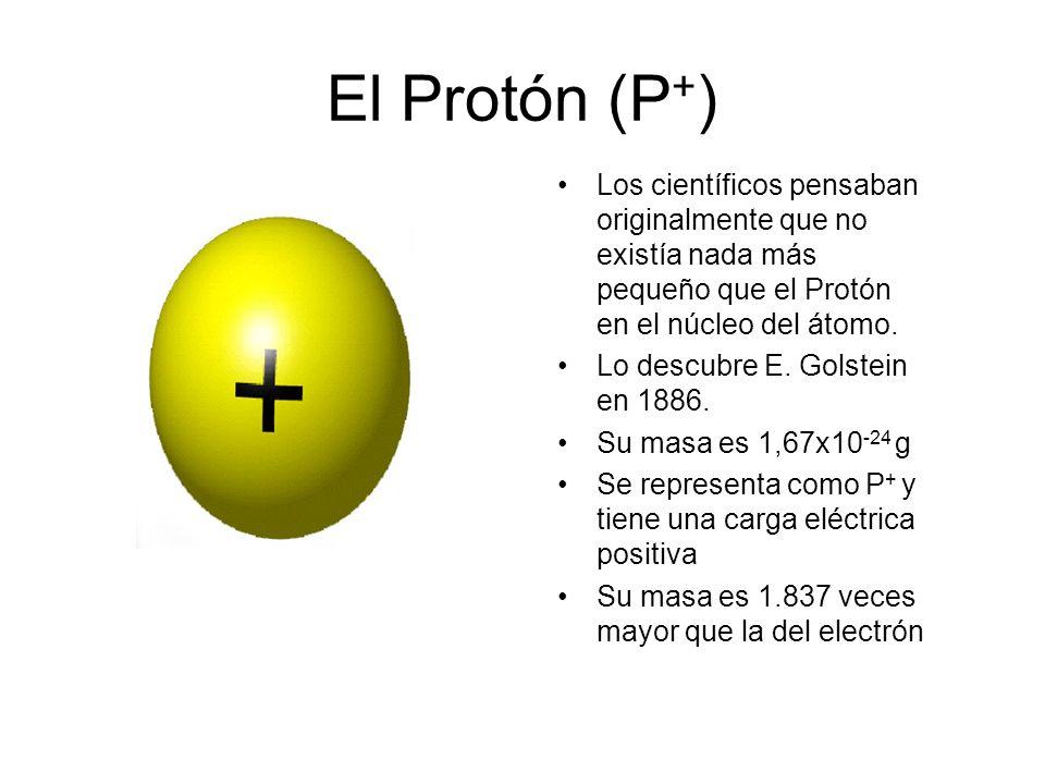 El Protón (P+) Los científicos pensaban originalmente que no existía nada más pequeño que el Protón en el núcleo del átomo.