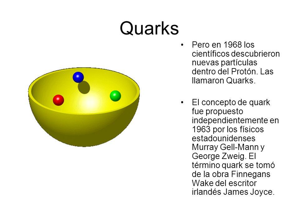 Quarks Pero en 1968 los científicos descubrieron nuevas partículas dentro del Protón. Las llamaron Quarks.