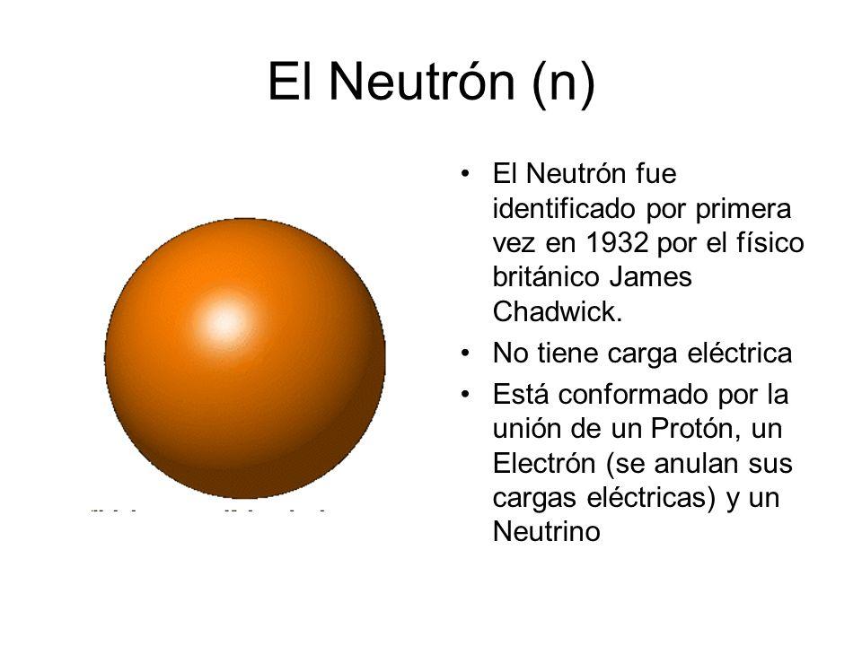 El Neutrón (n) El Neutrón fue identificado por primera vez en 1932 por el físico británico James Chadwick.
