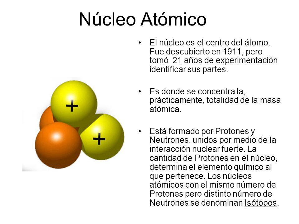 Núcleo Atómico El núcleo es el centro del átomo. Fue descubierto en 1911, pero tomó 21 años de experimentación identificar sus partes.