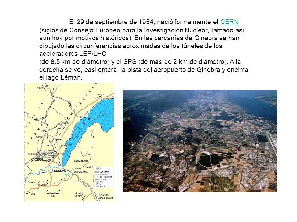 El 29 de septiembre de 1954, nació formalmente el CERN (siglas de Consejo Europeo para la Investigación Nuclear, llamado así aún hoy por motivos históricos).