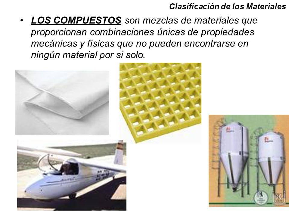 LOS COMPUESTOS son mezclas de materiales que proporcionan combinaciones únicas de propiedades mecánicas y físicas que no pueden encontrarse en ningún material por si solo.
