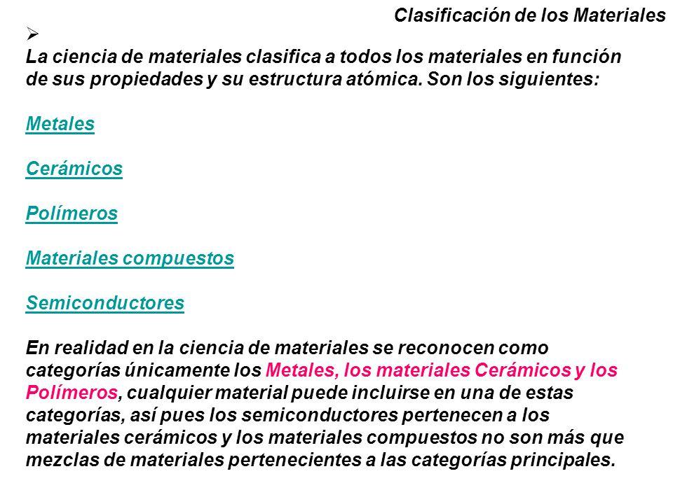 La ciencia de materiales clasifica a todos los materiales en función de sus propiedades y su estructura atómica.