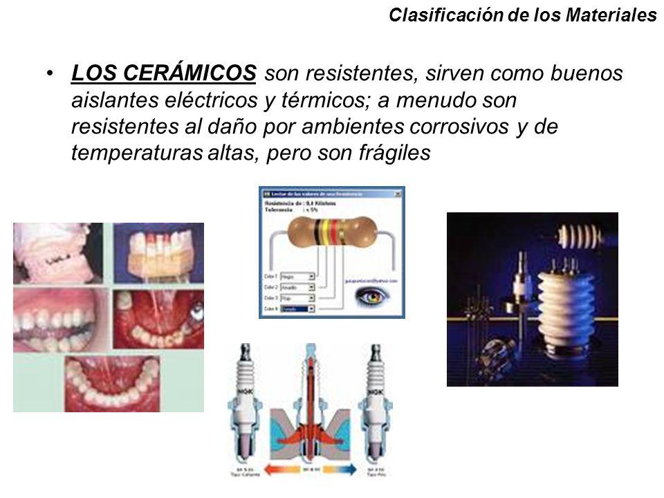 LOS CERÁMICOS son resistentes, sirven como buenos aislantes eléctricos y térmicos; a menudo son resistentes al daño por ambientes corrosivos y de temperaturas altas, pero son frágiles