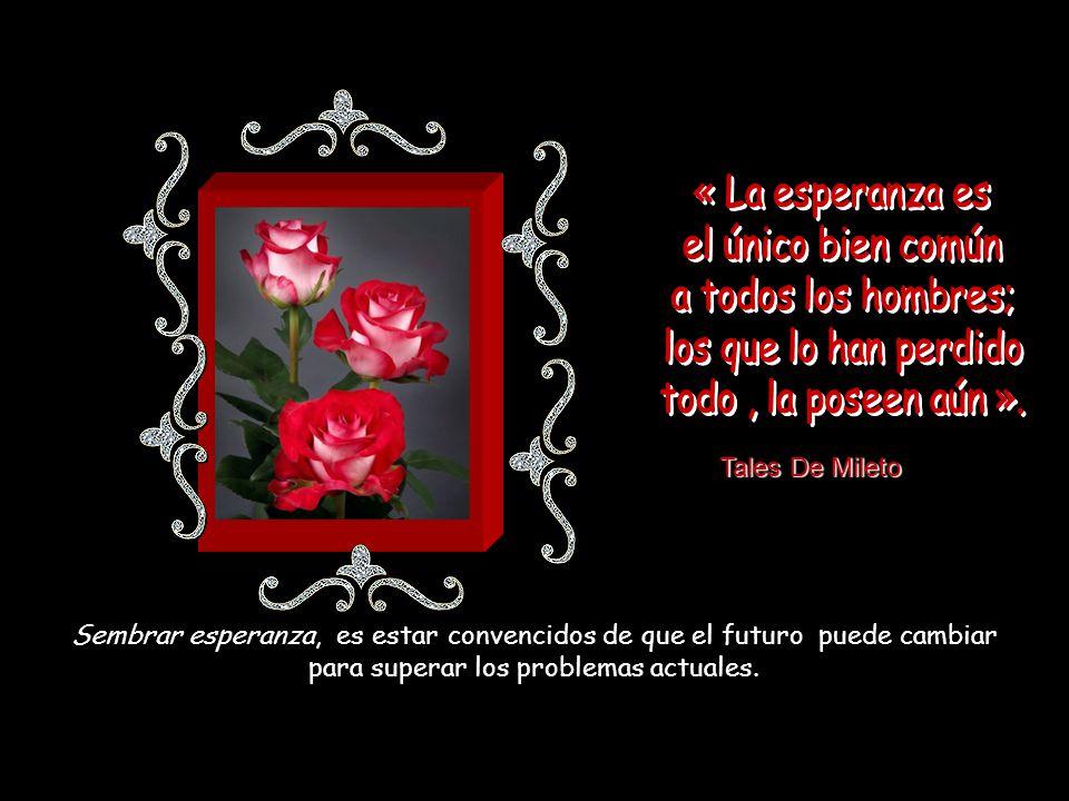« La esperanza es el único bien común a todos los hombres;