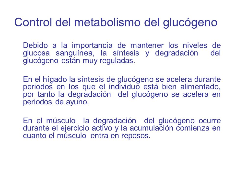 Control del metabolismo del glucógeno
