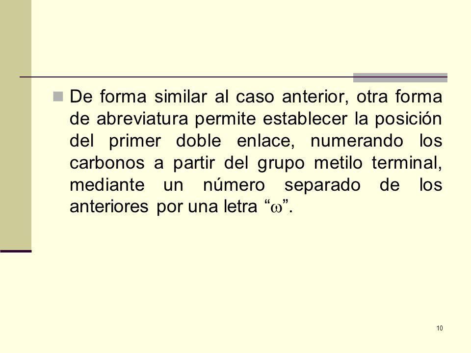 De forma similar al caso anterior, otra forma de abreviatura permite establecer la posición del primer doble enlace, numerando los carbonos a partir del grupo metilo terminal, mediante un número separado de los anteriores por una letra  .