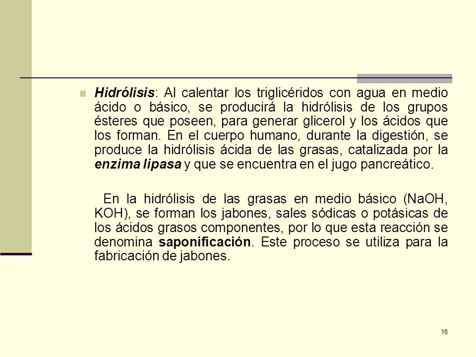 Hidrólisis: Al calentar los triglicéridos con agua en medio ácido o básico, se producirá la hidrólisis de los grupos ésteres que poseen, para generar glicerol y los ácidos que los forman. En el cuerpo humano, durante la digestión, se produce la hidrólisis ácida de las grasas, catalizada por la enzima lipasa y que se encuentra en el jugo pancreático.