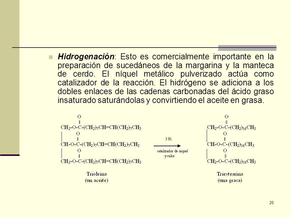 Hidrogenación: Esto es comercialmente importante en la preparación de sucedáneos de la margarina y la manteca de cerdo.