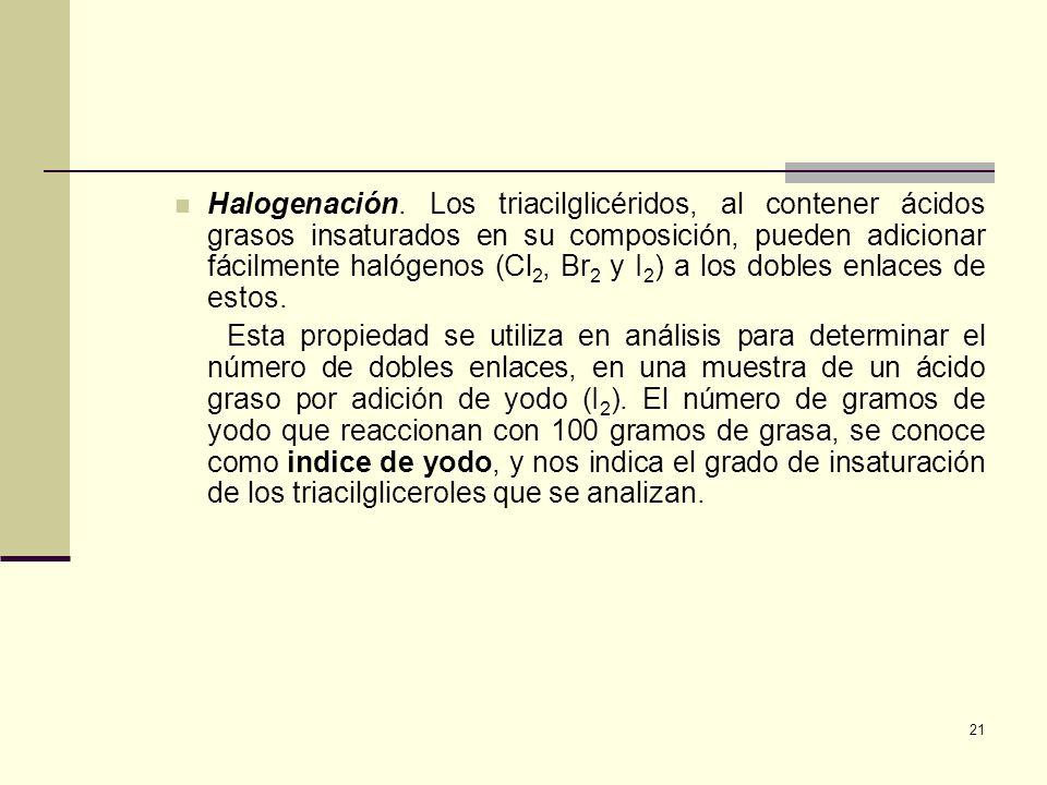 Halogenación. Los triacilglicéridos, al contener ácidos grasos insaturados en su composición, pueden adicionar fácilmente halógenos (Cl2, Br2 y I2) a los dobles enlaces de estos.