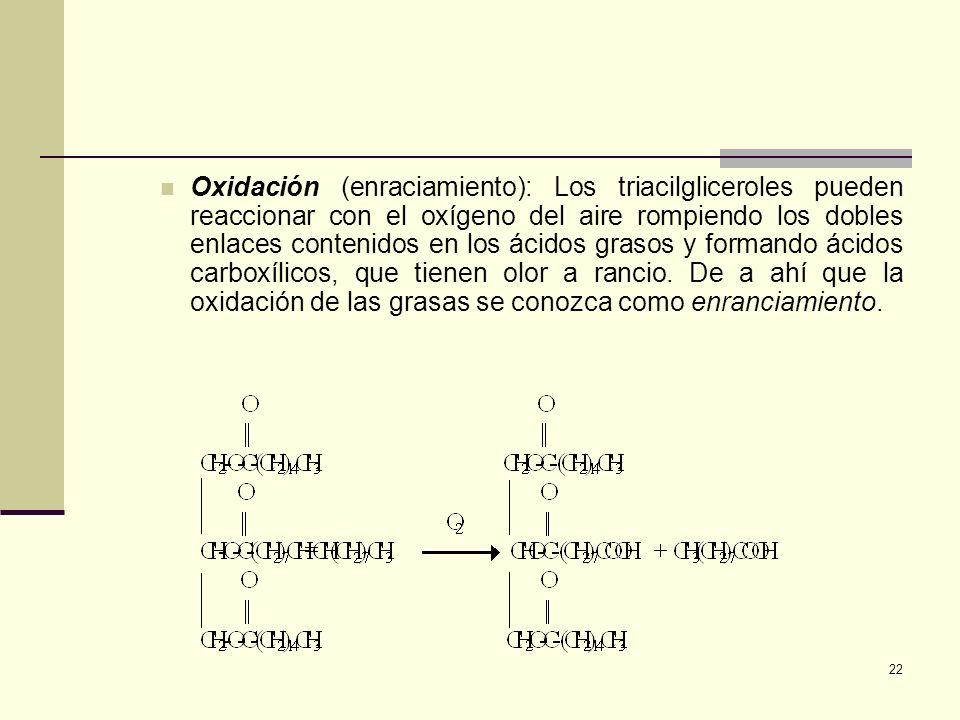 Oxidación (enraciamiento): Los triacilgliceroles pueden reaccionar con el oxígeno del aire rompiendo los dobles enlaces contenidos en los ácidos grasos y formando ácidos carboxílicos, que tienen olor a rancio.