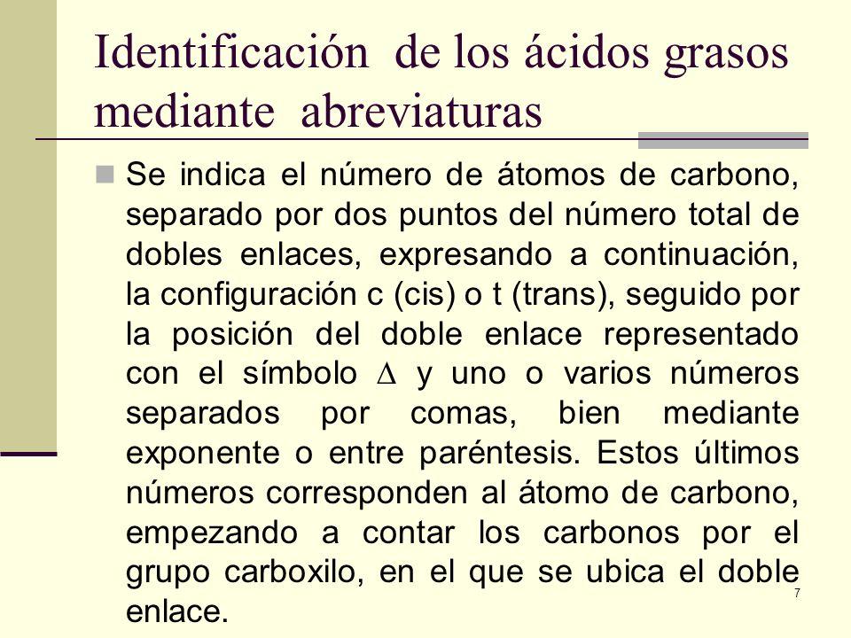 Identificación de los ácidos grasos mediante abreviaturas