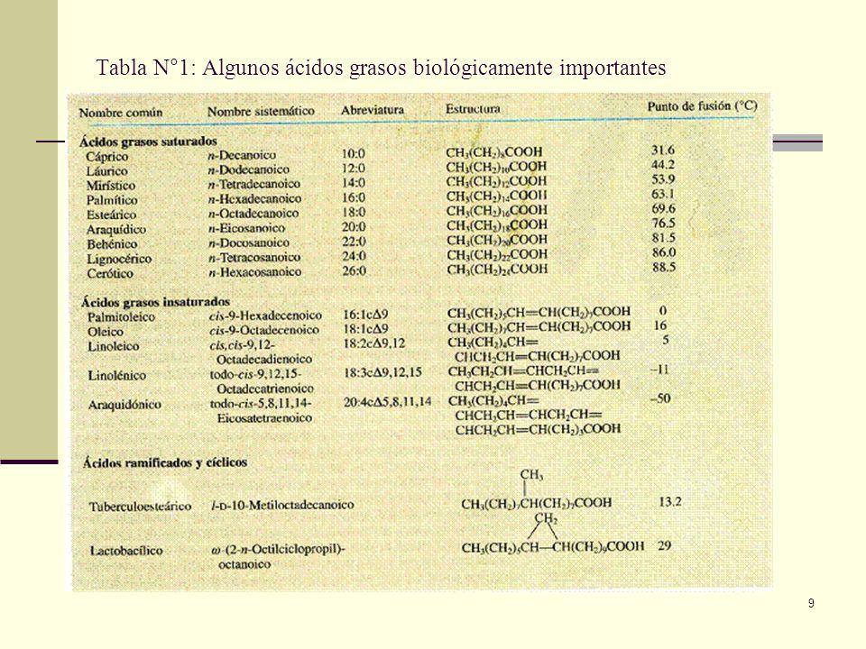 Tabla N°1: Algunos ácidos grasos biológicamente importantes