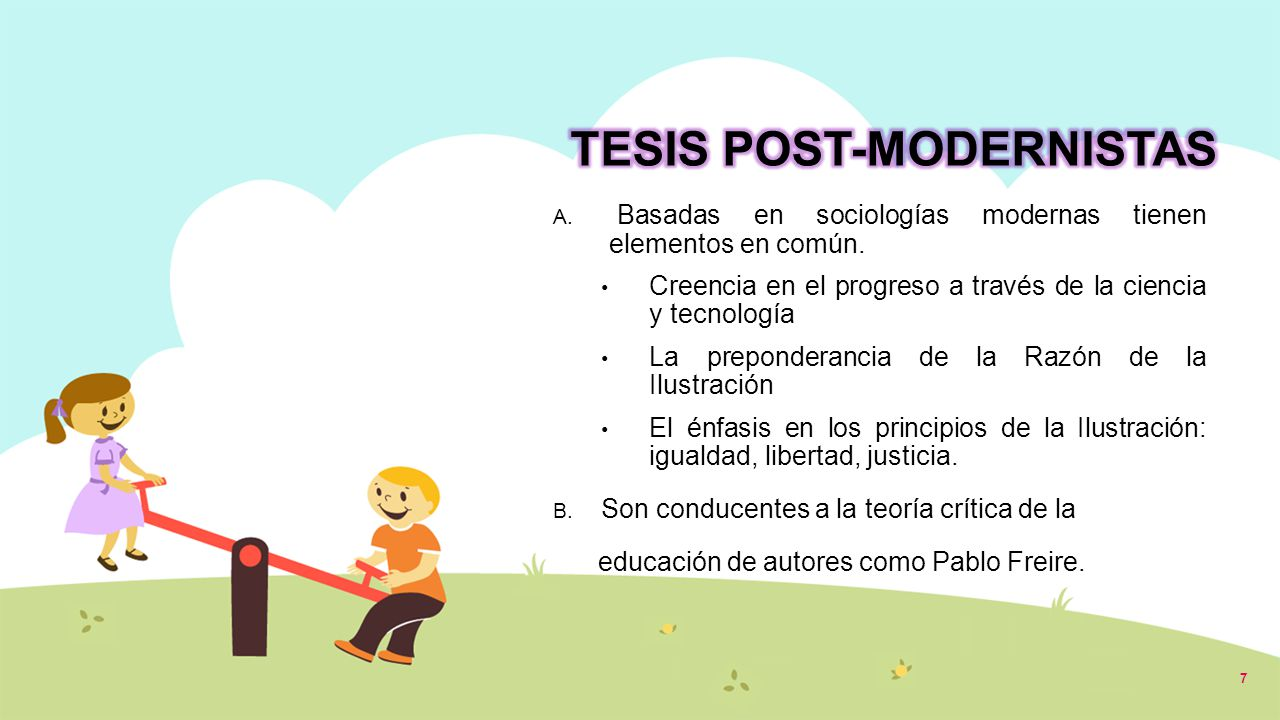 TESIS POST-MODERNISTAS