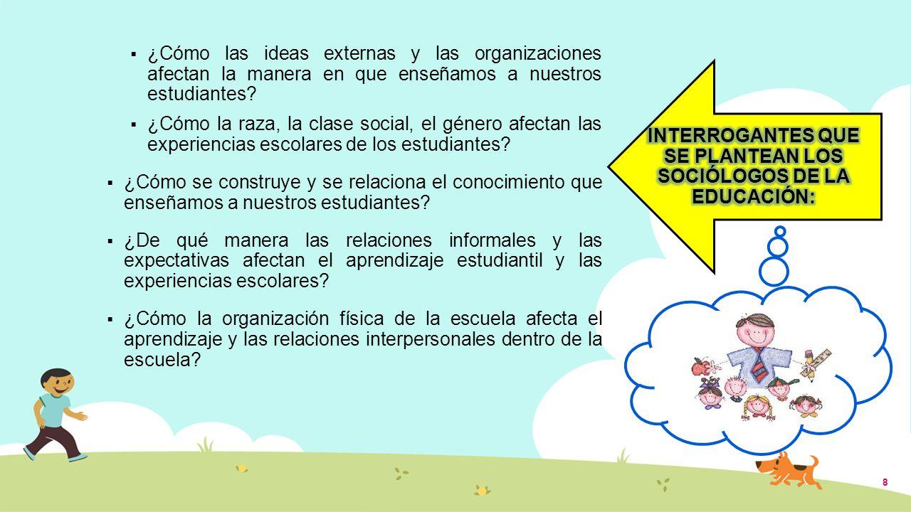 INTERROGANTES QUE SE PLANTEAN LOS SOCIÓLOGOS DE LA EDUCACIÓN: