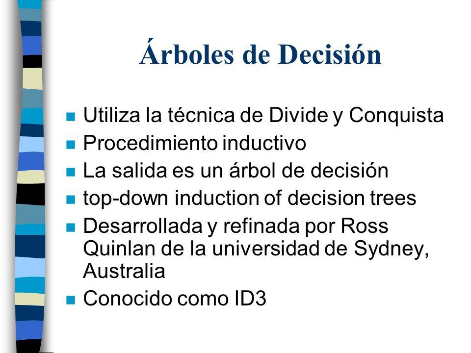 Árboles de Decisión Utiliza la técnica de Divide y Conquista