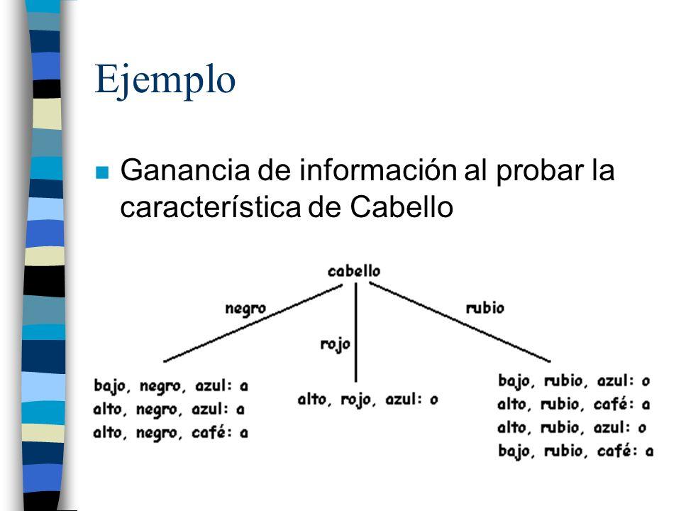 Ejemplo Ganancia de información al probar la característica de Cabello