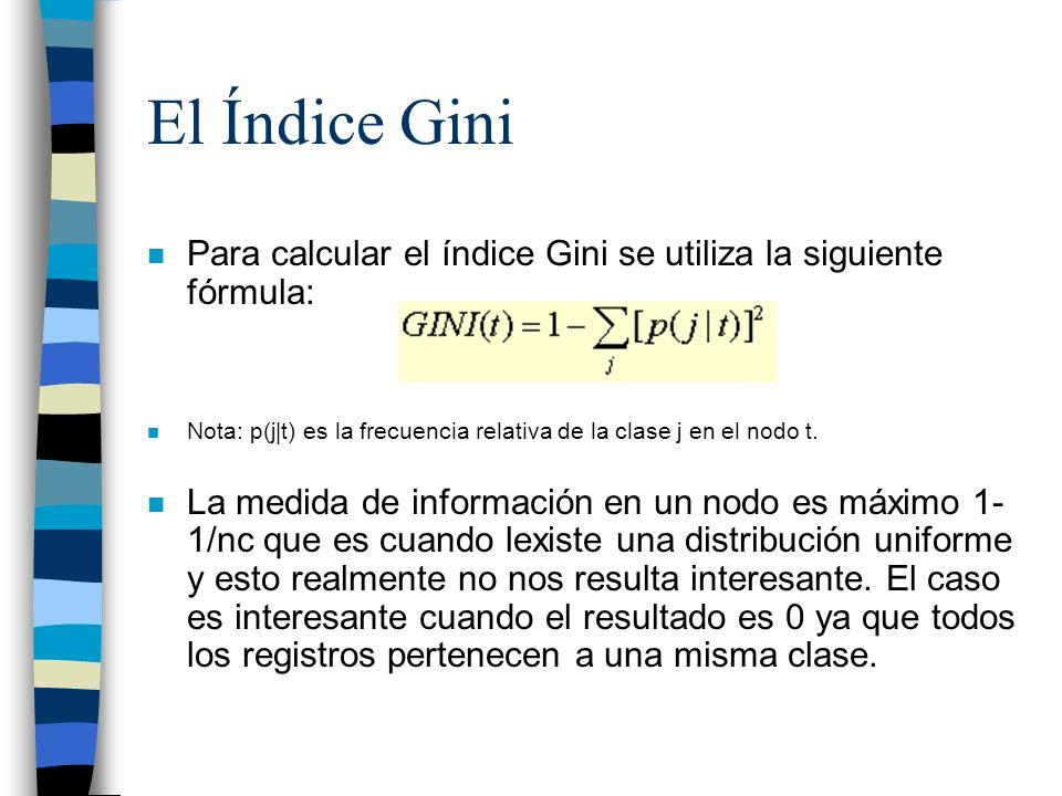 El Índice Gini Para calcular el índice Gini se utiliza la siguiente fórmula: Nota: p(j|t) es la frecuencia relativa de la clase j en el nodo t.