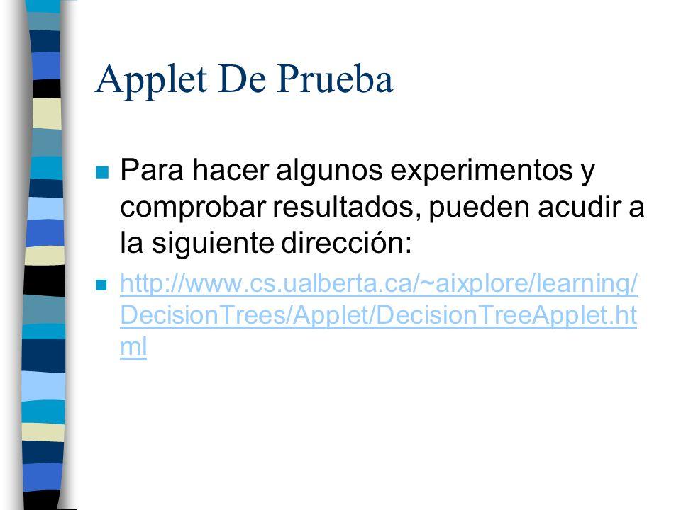 Applet De PruebaPara hacer algunos experimentos y comprobar resultados, pueden acudir a la siguiente dirección: